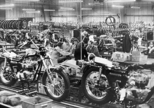 Inside the Triumph factory in Meriden